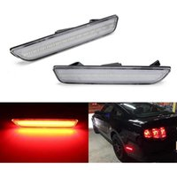 Car Clear Lens Red LED Rear Side Marker Light Replace Sidemarker Lamps Turn Signal For 2010-14 Mustang Styling Headlights
