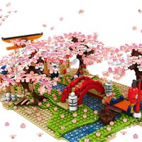 1400Pcs SEMBO Ideas Creator Japanese Style Street Sakura River Building Block Educational Bricks DIY Toys for Children X0503