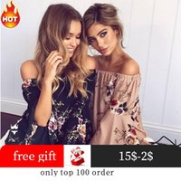 Off Shoulder Women Top Boho Chic Vintage Clothing Plus Size Chiffon Blouse Floral Blusa De Frio One Cold Tops Sexy Womens Blusas Women's Blo