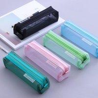 1 stück school mesh bleistift hüllen kawaii süße massivfarbe transparente box student stift tasche taschen