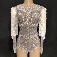 Женские комбинезоны Rompers Stage Sparkly Rhinestones Pearls Bodysuit Белые цветы День рождения праздновать певец танцевать шоу ночной клуб leotard r