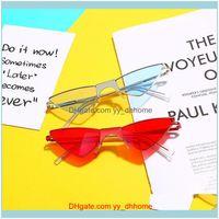 Sunglasses Aessoriessunglasses Fashion Cat Eye Triangle Women Candy Color Sun Glasses Female Retro Metal Frame Shade Mirror Uv4001 Drop Deli