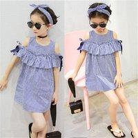 2021 Nouveau Toddler Summer Enfants Baby Girls Beautés Vêtements Bleu Rayé Épaule Volants De Fête Robes Princess Casual Robe
