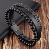 bangle Fashion Natural stone Magnetic button leather braided bracelet men's titanium steel jewelry Nice gift