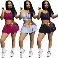Women Two Piece Dress Sleeveless T-shirts+Skirt Summer Jogging Suit S-2XL Outfits Stretchy Crop Top Sportswear Running Clothing 5053
