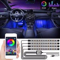 Car Decoration Light Interior Atmosphere Lights RGB LED Strip Light With USB Cigarette Lighter Wireless Remote Music Control APP Multiple Modes