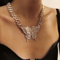 Chokers Punk Cuban Thick Chain Shiny Diamond Large Butterfly Necklace Women's Bone Gothic Retro Hip Hop Pendant Jewelry