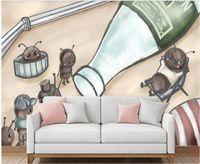 3D duvar kağıdı özel fotoğraf duvar elle çizilmiş karınca aile küçük hayvan çocuk odası ev dekor içinde oturma odası duvar kağıdı duvarlar için 3 d rulolar