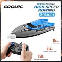 GOOLRC 30 км / ч Высокоскоростная RC RC Лодка с IPv7 Водонепроницаемый 2,4 ГГц 4 канала 370 Мотор Пульт дистанционного управления Двухместные Игрушки для Детей Подарок 210323