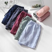Women's Sleepwear Summer Couples Sleep Pants 100% Cotton Crepe Pajama Shorts Men And Women Elastic Waist Bottoms Solid Sleeping 2021