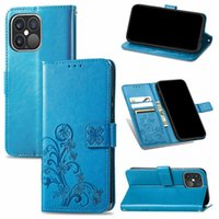 Imprint Flower Leather Wallet Cases For Iphone 13 Pro MAX Mini 2021 Samsung A03S M21S F62 A22 5G 4G Europe Fashion Lucky Clover Magnetic Flip Cover Pouch Strap Lanyard