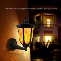 Solar Lamps Flame Wall Light Torch LED Outdoor Lighting Waterproof Mounted Night Lights Lantern Design For Door Patio Yard