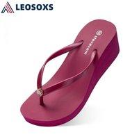 Leosoxs Wedges Hausschuhe Frauen Sandalen weibliche Schuhe Mode Lässige Sommerfolien Hausschuhe Frauen Strand Sandalen außerhalb L187