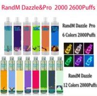 100% Original RandM Dazzle Pro cigarettes Disposable Device Kit 6ml Pods 2000 2600Puffs 1100mAh Battery Vape Pen VS Puff bars plus Bang XXL