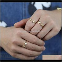 Jewelry100Percent 925 Sterling Sier Ring Stylish Moon Star Finger Jewelry Opal Open Adjustable Fashion Women Wedding Cluster Rings Drop Deli