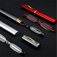 Sunglasses Mini Portable Pen Reading Glasses Men Women Lightweight Clear Foldable Magnifier Presbyopic Metal With Case Red gray