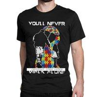 CCCCSportmens Crewneck T-shirt Você nunca anda sozinho pai Filha filho Autismo Consciência Mens 3D Tshirts Autismo autistic engraçado tshirt