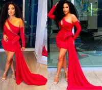 2021 Plus Size Arabic Aso Ebi Red Sexy Stylish Prom Dresses One Shoulder Beaded Evening Formal Party Second Reception Bridemsaid Gowns Dress ZJ292