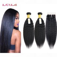 Cheap Brazilian Virgin Hair Kinky Straight Unprocessed Human Hair 2 Bundles With Lace Closure 3 Pieces lot Natural Color Yaki