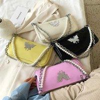 خمر الماس فراشة النساء باغيت حقائب الصيف أزياء لؤلؤة سلسلة السيدات المحمولة الإبط كتف حقيبة مخلب محفظة