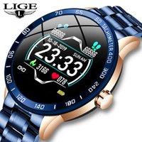 Luik Stalen Band Relógios inteligentes Homens Heartbeat Medidor de Pressão Sanguínea Esporte Moda Multifuncional Fitness Rastreador À Prova D 'Água Smartwatch