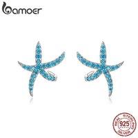 Bamoer Starfish Stads Boucles d'oreilles pour femmes Véritable 925 Sterling Sterling Fashion Blue Boucles d'oreilles Corean Design Bijoux BSE136 210323
