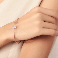 Bangle Fashion Crystal Heart Shaped Double Love Couple's Bracelet Opening Adjustable Rose Gold Bracelets For Women Jewelry Gift