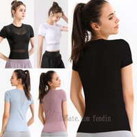 womens yoga shirts t-shirt for women tshirts designer woman lu lulu t shirt outfit Breathable mesh sport fitness lace Running Gym T-shirts Sexy 0101 5287#