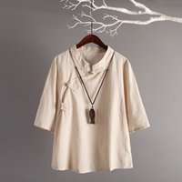 Chinesische stil leinen top neue retro kunst baumwolle schräg knöpfe sieben ärmel lose leinen tops frauen traditionelle chinesische kleidung