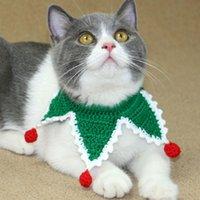 Kedi Yağları Noel Benzersiz Yaka Kediler için El Yapımı Pet Yavru Aksesuarları Küçük Köpekler Kolye Örme Ürünleri Toptan