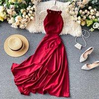 Fitaylor Yaz Bahar Zarif Örme Halter Katı Kolsuz Canlı Renk Kadınlar Kadın A-Line Yüksek Bel Uzun Elbise Y0603