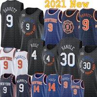 Black RJ 9 Barrett Julius 30 Randle Derrick 4 Rose Jersey New Basketball York Jerseys Allonzo 14 Trier Jerseys Azul Blanco S-XXL