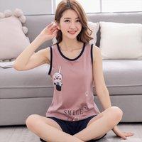 Summer Pajama Sets Home Womens Sleepwears Tops With Shorts Nightgown Underwear Korean Clothes Pyjamas Women Pants Roupas Femininas Com Frete