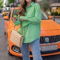 Laste осень зима высокая улица ZA рубашки женские ослабесы воротник сплошные зеленые дамы блузки с длинными рукавами с длинными рукавами