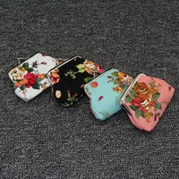 Storage Bags Fashion Vintage flower coin purse canvas key holder wallet hasp small gifts bag clutch handbag ZWL379