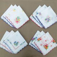 Algodón pañuelo floral bordado moda mujeres pañuelos flor señora pañuelo mini squarescarf boutique bolsillo toalla dwc6853