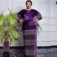 Платья 3 частей Топы и юбка Бархат Весна Осень Африка Одежда Мусульманское Длинное Maxi Платье Высокое Качество Мода Африканские Устанавливает LadyQMZ3 EE65