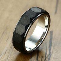 Bagues de mariage européen et américain 7mm de large mode géométrique hexagone tungstène bague en acier classique homme pur noir
