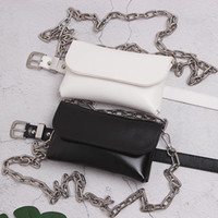 Waist Bags 2021 Phone Bag Women White Black PU Flap Cover Fanny Packs DOuble Chains Street Shoulder Leather Belt Wallet
