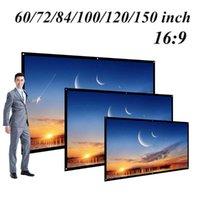 Écrans de projection 60/72/84/100/120 pouce Écran de projecteur HD 16: 9 Blanc Dacron Diagonal Video mural pour film de cinéma à la maison
