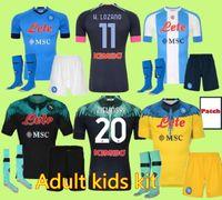 Kit Kits Adulto 19 20 21 Napoli Jersey Home 2020 2021 Nápoles Zielinski Hamsik Insigne Mertens Callejon Jogador Rog Football Camisas