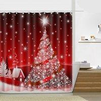 180 * 180cm 크리스마스 샤워 커튼 산타 클로스 눈사람 방수 욕실 샤워 커튼 장식 후크 21 디자인 OOD4656