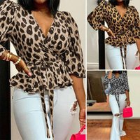 Women's T-Shirt Leopard Print Long Sleeves Tops Women V Neck Lace Up Casual Office Long-Sleeve Sexy Plus Size Pullover Blouse