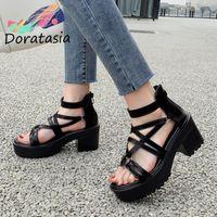 Sandals DORATASIA 2021 Arrival Women Solid Zipper Open Toe Platform Shoes Square Heel Quality Dress