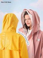 معطف واق من المطر الأصفر طويل المرأة المعطف ماء معطف المطر السيارة الكهربائية التخييم في الهواء الطلق الكبار الوردي المعطف المشي دراجة هدية الأفكار