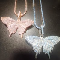 Pendant Necklaces Zircon Pink Blue Butterfly 4mm8mm Rose Gold Cuban Chain Cubic Charm Tennis Necklace Men Women Hiphop Jewelry Gift
