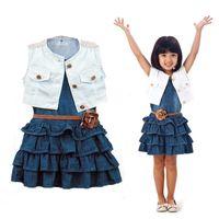 Girl's Dresses Summer Girl Clothes Set Retro Denim Dress 2021 Baby Kids Sleeveless Dress+Jacket+Belt 3PCS Outfits 1-7T Children Clothing