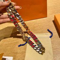 12 styles Collier de bonbons Bijoux de luxe Diamant 316L Titane en acier en titane Engramme Engramme Engramme Coloré Chaîne épaisse Liens Patchs Collier