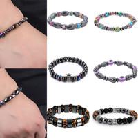 Charm Bracelets Rinhoo Multicolor Hematite Stone Beaded Bangle For Men Women Evil Eye Crown Elasticity Rope Health Care Jewelry
