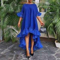 Casual Dresses Women Party Dress VONDA Autumn Summer Irregular Hem Maxi 3 4 Sleeve Lace Patchwork Bohemain Vestidos Asymmetric Robes